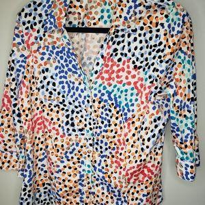 Dana Buchman Vintage Stretch Cotton Blouse Size L